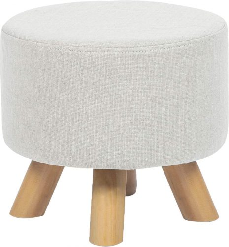 6. Asense Round Ottoman Foot Rest Stool Linen Fabric Padded Seat