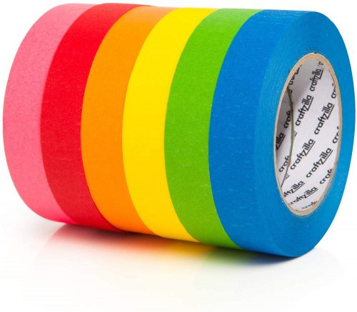 Craftzilla Colored Masking Tape - 6 Pack of 60 Yards  | Low Tack Masking Tape
