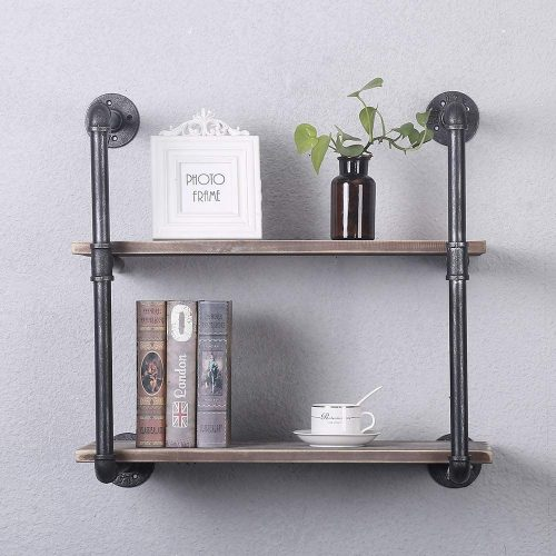 GWH Industrial Pipe Shelving Wall Mounted Bed Bookcases