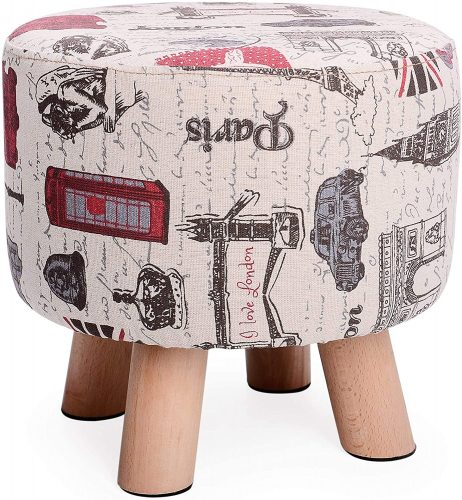 8. H&B Luxuries Fabric Round Padded Ottoman Foot Rest Stool