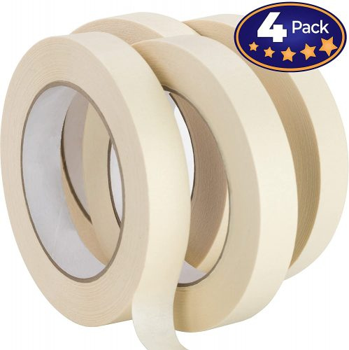 Nova Supply 3/4 in Pro-Grade Masking Tape. 60 Yard Roll 4 Pack | Low Tack Masking Tape
