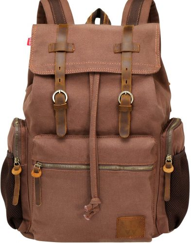 7. WOWBOX Canvas Backpack Vintage Leather 17.3 Inch Laptop School Backpack
