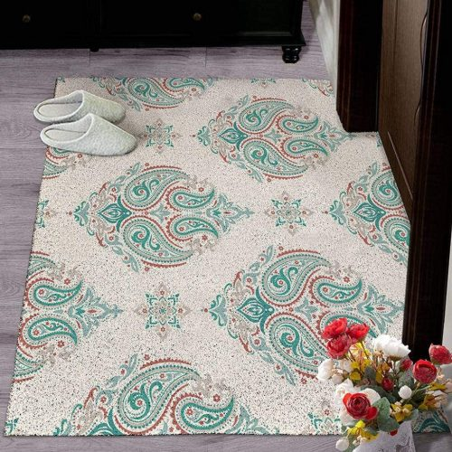 PVC Non-Slip Rug, Bohemian Waterproof Carpet Wear-Resistant Waterproof Carpets