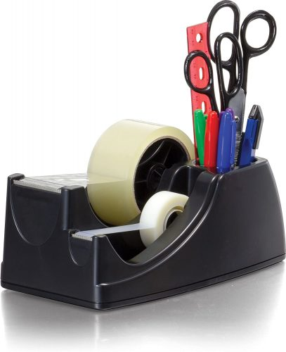 3. Officemate Heavy Duty Weighted 2-in-1 Tape Dispenser, Recycled,Black