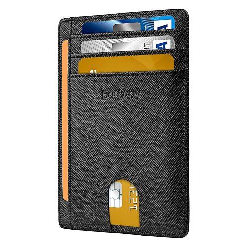 7. Buffway Slim Minimalist Front Pocket RFID Blocking Leather Wallets
