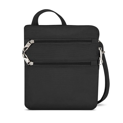 4. Travelon Anti-theft Classic Slim Dbl Zip Crossbody Bag, Black, One Size