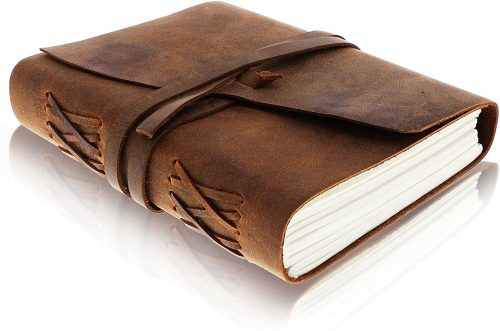 6. Leather Journal Writing Notebook - Antique Handmade