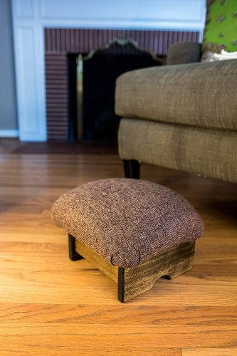 "3. KR Ideas Mini Padded Foot Stool, Cocoa Brown, 7"" Tall"
