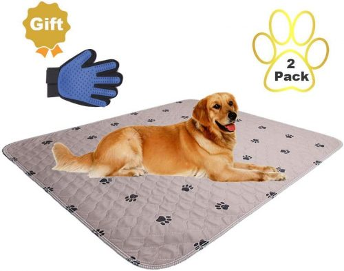 SincoPet Reusable Pee Pad + Free Puppy Grooming Gloves - Waterproof Carpet