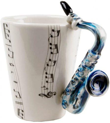 Saxophone Gift, Coffee Mug Handmade by Blue Witch - Unique Coffee Mug