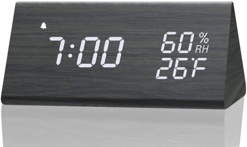 Digital Alarm Clock, with Wooden Electronic - Unique Desk Accessories