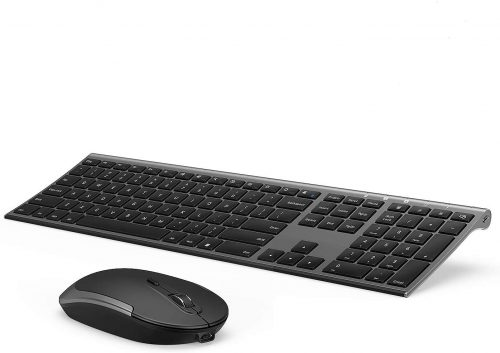 Vssoplor 2.4GHz Rechargeable Compact Quiet Full-Size- Wireless Gaming Keyboard & Mouse Combo