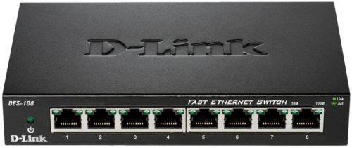 D-Link Fast Ethernet Switch, 8 Port Unmanaged| USB Router