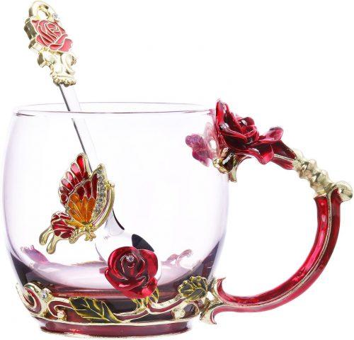 Tea Cup Coffee Mug Glassess Cups & Spoon Beautiful- Unique Coffee Mug