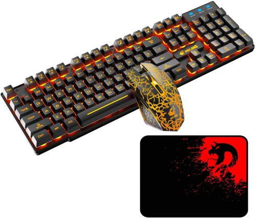 Rechargeable Orange Backlit- Wireless Gaming Keyboard & Mouse Combo