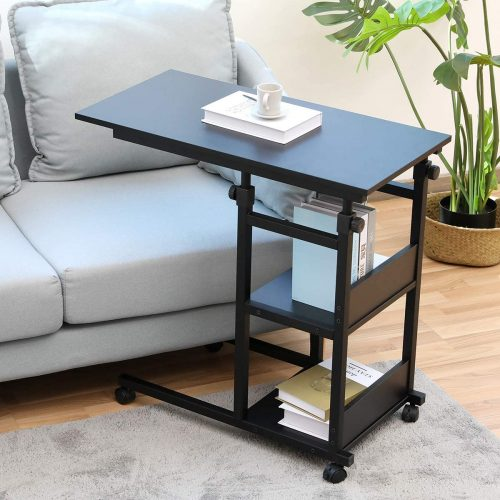 Side Table with Wheels, Bonzy Home Snack Side - Laptop Table For Couch