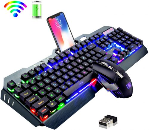 Rainbow LED Backlit Rechargeable- Wireless Gaming Keyboard & Mouse Combo