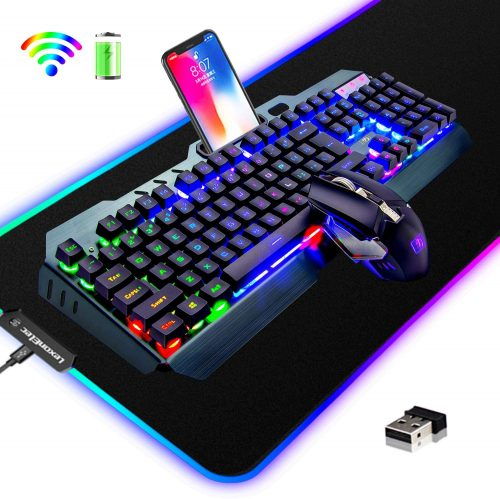 3 in 1 Rainbow LED Rechargeable- Wireless Gaming Keyboard & Mouse Combo