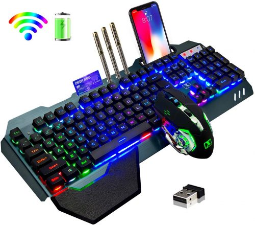 Rainbow Backlit Rechargeable 3800mAh Battery- Wireless Gaming Keyboard & Mouse Combo