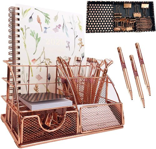 Rose Gold Desk Organizer and Stationary Set - Unique Desk Accessories