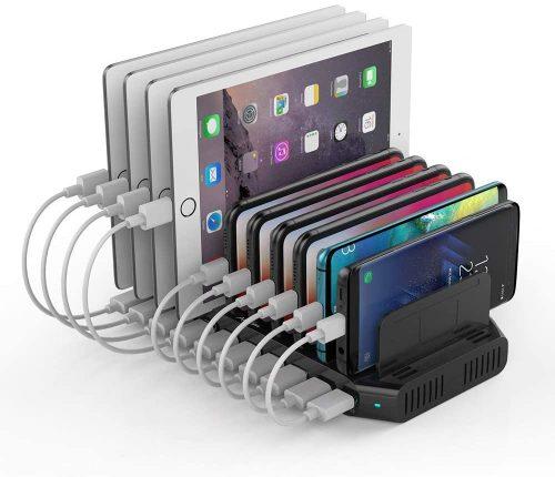 Alxum 60W 10 Port USB Charging Station Multiple Charger Station | IPAD Docking Station
