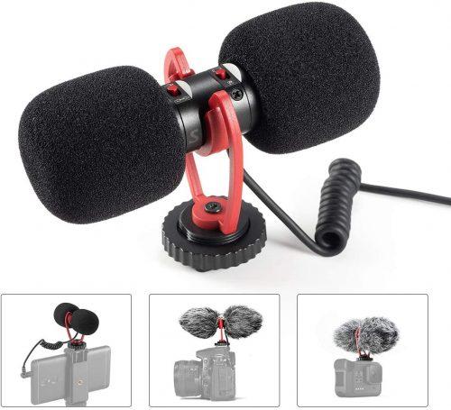 Professional Video Microphone, External Vlog Mic  Shotgun Mic