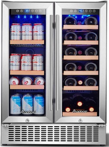 Aobosi 24 Inch Beverage and Wine Cooler Dual Zone | Beverage Cooler