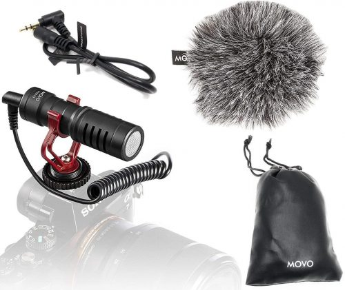 Movo VXR10 Universal Video Microphone with Shock Mount | Shotgun Mic