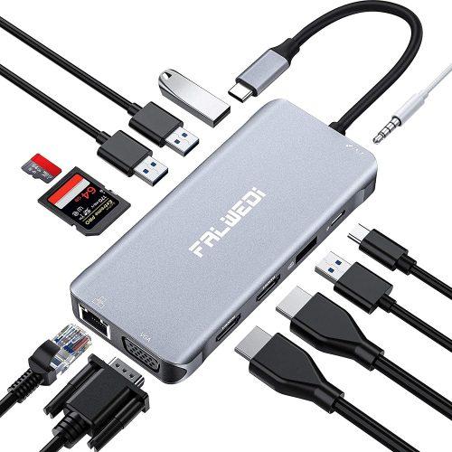 Falwedi Triple Display 12 in 1 USB C Hub| IPAD Docking Station
