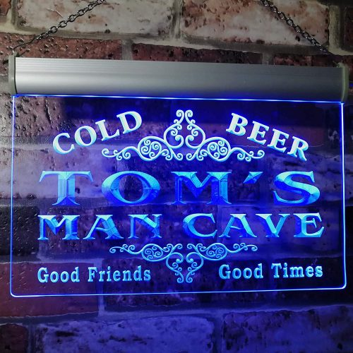 Tom's Man Cave Beer Ale Bar Custom Personalized | Custom Neon Signs