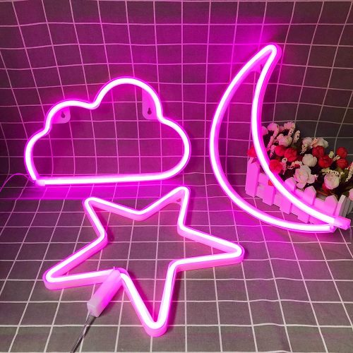 Pink Neon Signs Star Moon and Cloud Night Light| Neon Signs For Bedroom