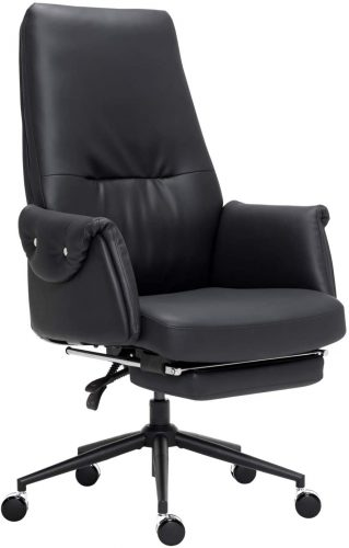 Leather Executive Chair Adjustable Reclining Swivel Office Desk Chair