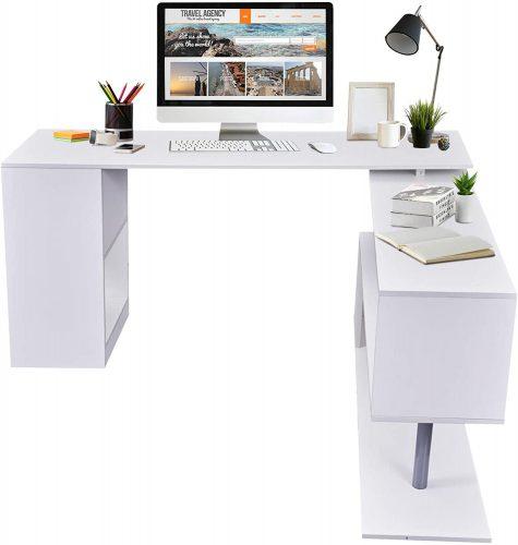 HOMCOM Modern L Shaped Rotating Desk| White Desk