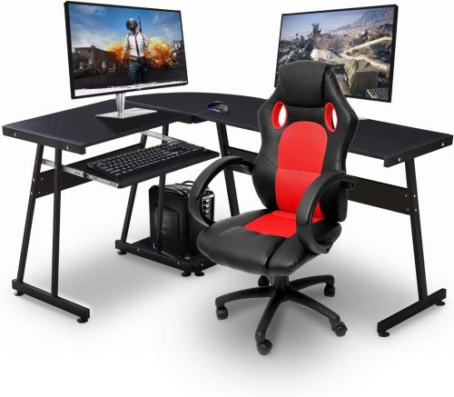 Ivinta Reversible Black Gaming Desk| L-Shaped Desktop Desk