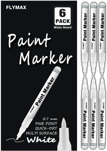 Flymax 6 Pack 0.7mm Acrylic White Permanent Marker | White Permanent Markers