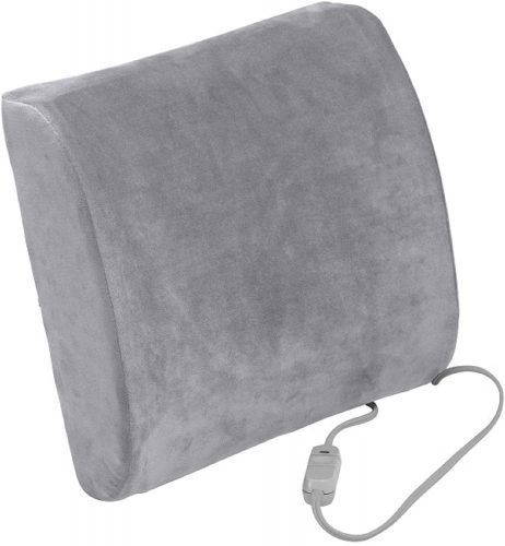 Drive Medical Comfort Touch Heated Lumbar Support Cushion | Back Support For Office Chair