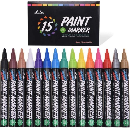 Lelix 15 Pack Oil Based Permanent Paint Markers| Paint Markers