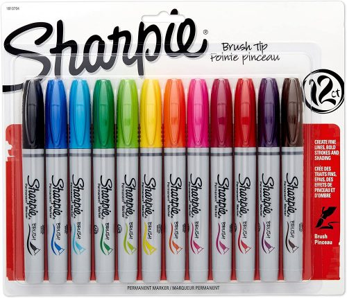 Sharpie 1810704 Brush Tip Assorted Permanent Markers| Thick Permanent Markers