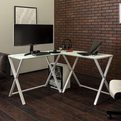 Walker Edison Modern Corner L Shaped Glass White Desk| White Desk