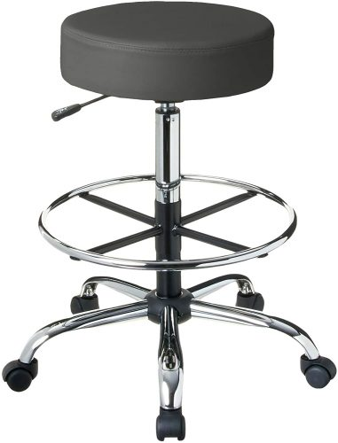 "Boss Office Products Adjustable 16"" Drafting Stool, Grey 