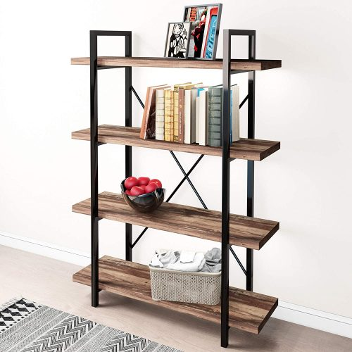 5MinST 4-Tier Vintage Industrial Style Bookcase | Office Bookcase
